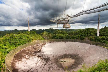radio telescope: The Arecibo Observatory radio telescope in the hills of Arecibo, Puerto Rico, on June 6, 2014 Editorial