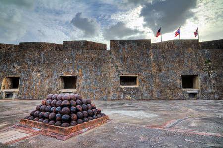 cristobal: Beautiful view of the cannonballs of fort San Cristobal in San Juan, Puerto Rico
