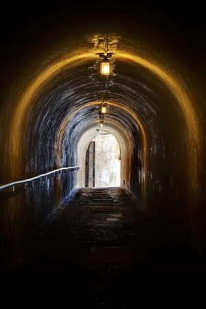 cristobal: Tunnel to the upper deck in fort San Cristobal in San Juan, Puerto Rico