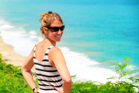 puerto rico: Beautiful woman at the coast of Puerto Rico in summer
