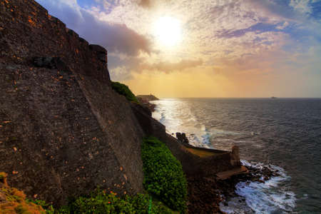 cristobal: Beautiful view of the large outer wall and the devil s guerite of fort San Cristobal in San Juan, Puerto Rico