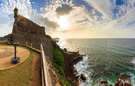 cristobal: Beautiful panoramic view of the large outer wall with sentry box of fort San Cristobal in San Juan, Puerto Rico