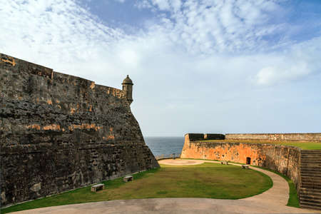 cristobal: Beautiful view of the large outer wall with sentry box of fort San Cristobal in San Juan, Puerto Rico
