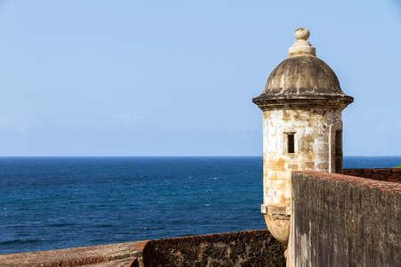 sentry: Beautiful sentry box (guerite) at fort San Felipe Del Morro in San Juan, Puerto Rico Stock Photo