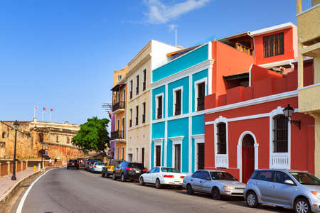 cristobal: Beautiful typical vibrant street in San Juan, Puerto Rico, leading to fort San Cristobal Stock Photo