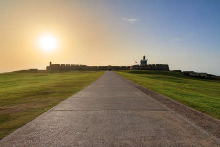 Beautiful sunset at fort San Felipe Del Morro in San Juan, Puerto Rico Stock Photo