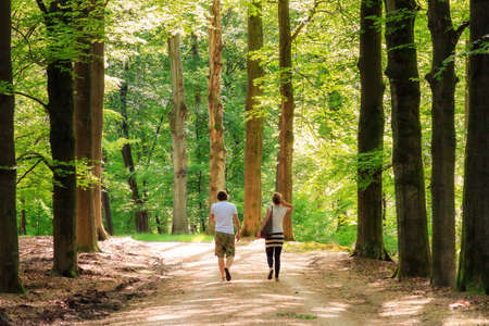 Young couple taking a spring walk in the forest in the Netherlands, with fresh green leafs and lots of warm sunshine Banco de Imagens