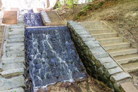 De twee grootste watervallen van Nederland genaamd De Watervallen van de Vrijenberger Spreng of Loenense waterval in het bos bij Loenen (Veluwe)