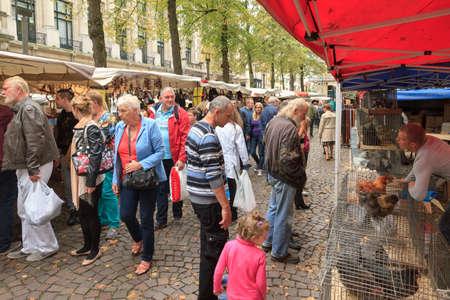 People looking at the birds at the traditional Sunday bird market the Vogelenmarkt (or vogeltjesmarkt) in Antwerp, Belgium, on September 21, 2014 Editorial