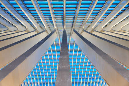 Beautiful abstract view of the interior of the modern architecture railway station Liege-Guillemins with steel shapes and lines in the blue hour in Belgium