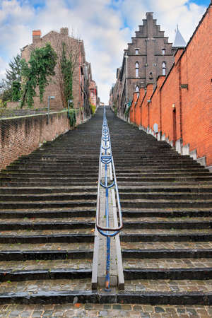 Beautiful cityscape of the 374-step long staircase Montagne de Bueren, a popular landmark and tourist attraction in Liege, Belgium Stock Photo