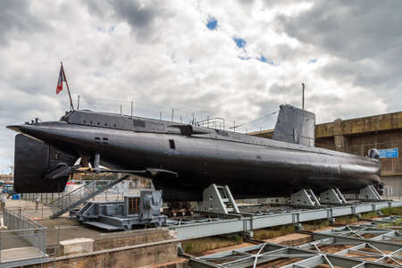 The Daphné class French submarine Flore at the Keroman Submarine Base, a WWII German U-boat facility, in Lorient, France