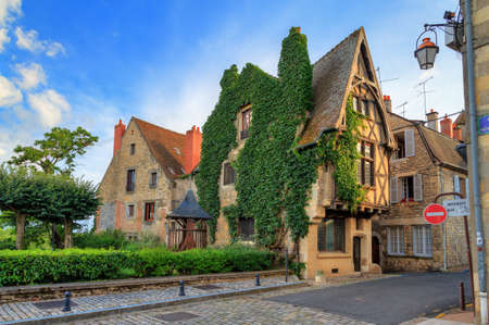 Beautiful typical traditional french fairytale ancient house overgrown with ivy in the streets of Nevers, France Editorial