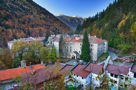 Beautiful view of the Orthodox Rila Monastery, a famous tourist attraction and cultural heritage monument in the Rila Nature Park mountains in Bulgaria Stok Fotoğraf