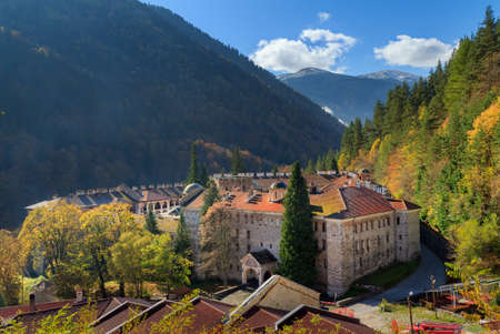 Beautiful view of the Orthodox Rila Monastery, a famous tourist attraction and cultural heritage monument in the Rila Nature Park mountains in Bulgaria Stock Photo