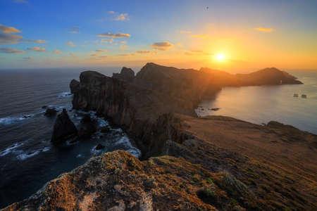 Beautiful landscape view of the island Madeira at Ponta de Sao Lourenco nature reserve at sunrise Zdjęcie Seryjne