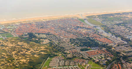 Beautiful aerial cityscape view of the town of Katwijk, the Netherlands, with the beach and river Rhine at the North sea Stock Photo