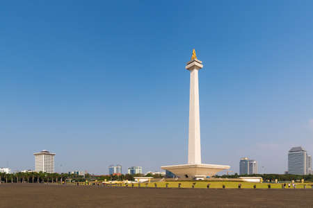 Beautiful view of the National Monument of Indonesia (Monumen Nasional, MoNas) in Jakarta, Indonesia