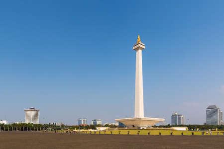 Belle vue sur le monument national d'Indonésie (Monumen Nasional, MoNas) à Jakarta, Indonésie