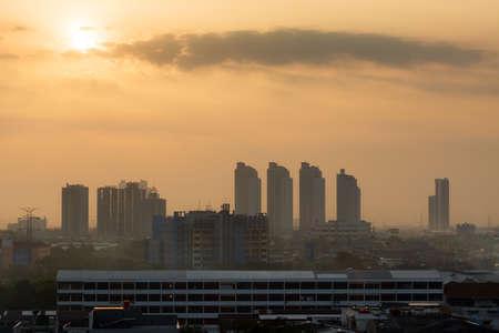 Beautiful aerial cityscape view of the skyline of Jakarta (seen from Kota tua aka old town or Batavia), Indonesia, at sunrise Stock Photo