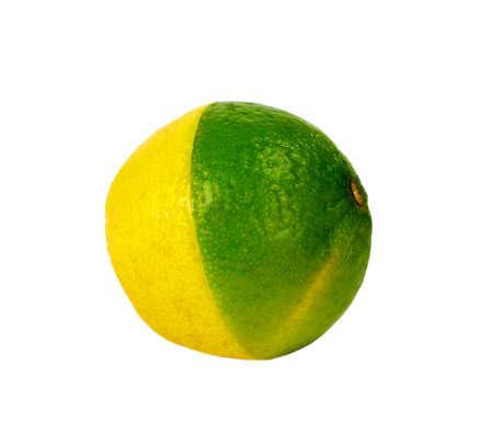 lemon and lime mixed, isolated on white background Stock Photo