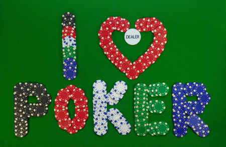 colored chips that make up the inscription I love poker with button inside of heart