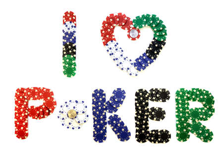 colored chips that make up the inscription `I love poker` with two 1 dollar coins inside `O` and inside heart
