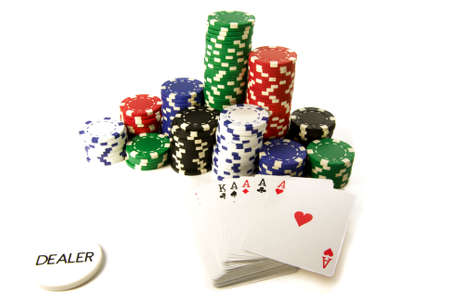 poker attributes: color chips cards and dealer button