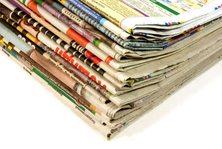 stack of old and new newspapers isolated over white Banque d'images