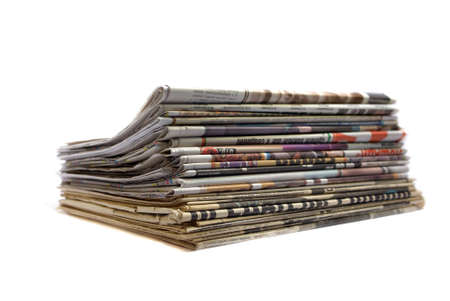 stack of old and new newspapers isolated over white Stock Photo
