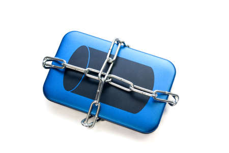 external hard drive chained isolated over white