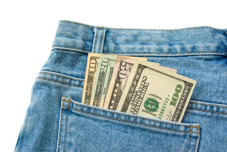 10 20 50 100 dollar banknotes in a blue jeans pocket isolated over white