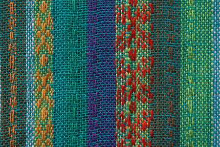 colorful asian fabric texture with visible thread