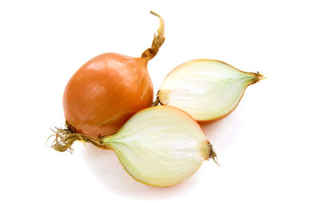 brown onion with small roots isolated over white background
