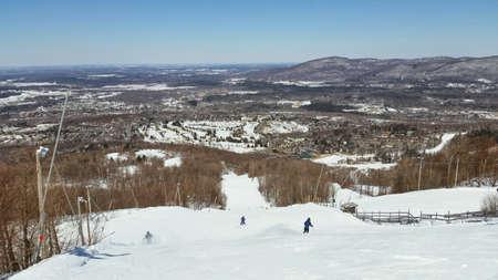 Groomed base ski mountain