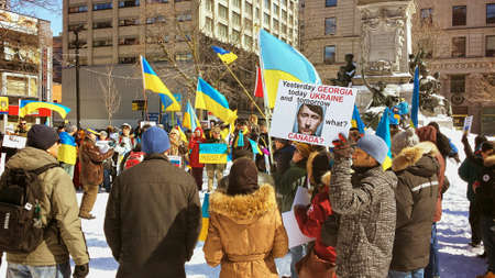 Ukrainian-Montrealers protesters against war in Ukraine. Montreal, March, 2014