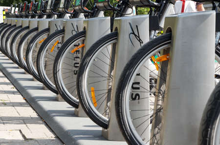 MONTREAL, CANADA - SEPTEMBER, 2015 - Bixi,the largest bike rental service in the Montreal area. Editorial