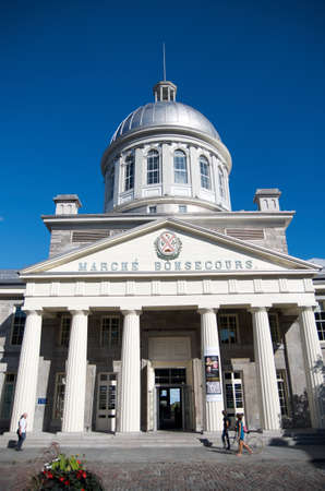 public market: MONTREAL, CANADA - AUGUST, 2015 - Bonsecours Market in Old Montreal, is a two-story domed public market. It was the main public market in Montreal area for more than 100 years.