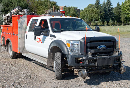 farm duties: MONTREAL, CANADA - AUGUST, 2015 - Heavy duty Ford of CN -Canadian National Railway for roads and railways
