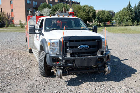 MONTREAL, CANADA - AUGUST, 2015 - Heavy duty Ford of CN -Canadian National Railway for roads and railways