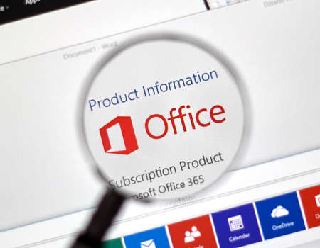 msn: MONTREAL, CANADA - FEBRUARY, 2016 - Microsoft Office 365 on the web under magnifying glass. Editorial