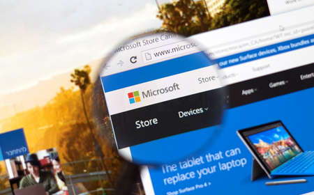 msn: MONTREAL, CANADA - FEBRUARY, 2016 - Microsoft store on the web under magnifying glass. Editorial