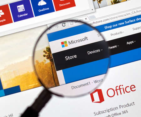 MONTREAL, CANADA - FEBRUARY, 2016 - Microsoft store on the web under magnifying glass. Editorial