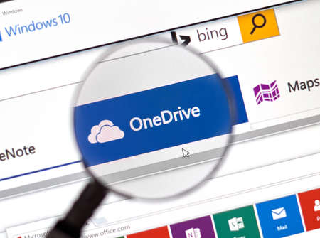 msn: MONTREAL, CANADA - FEBRUARY, 2016 - Microsoft One Drive on the web under magnifying glass. Editorial