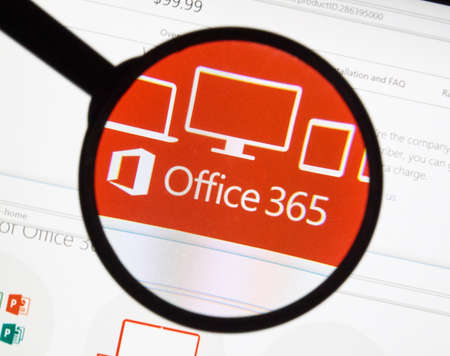 MONTREAL, CANADA - FEBRUARY, 2016 - Microsoft Office 365 on the web under magnifying glass. Editorial