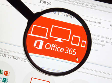 microsoft: MONTREAL, CANADA - FEBRUARY, 2016 - Microsoft Office 365 on the web under magnifying glass. Editorial