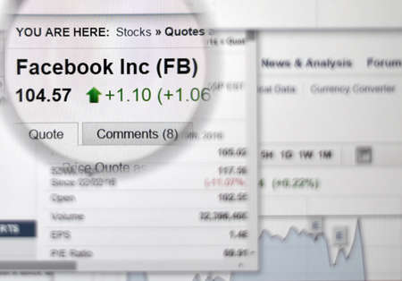 ticker: MONTREAL, CANADA - FEBRUARY, 2016 - FB - Facebook stock market ticker with charts under magnifying glass. Editorial