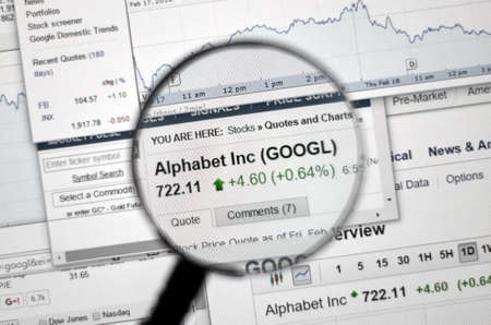 ticker: MONTREAL, CANADA - FEBRUARY, 2016 - GOOGL - Google stock market ticker with charts under magnifying glass. Editorial