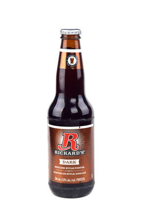 molson: MONTREAL, CANADA - FEBRUARY, 2016 - Bottle of 341ML Rickards Dark beer, English style porter produced by Molson, Canada. Editorial