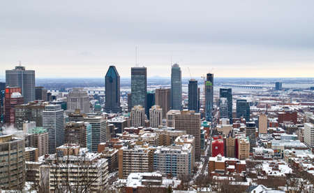 MONTREAL, CANADA - FEBRUARY, 2016 - Scenic view at winter downtown Montreal.